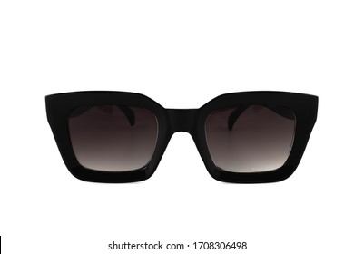 Black horn rimmed sunglasses for women isolated on white background, front view