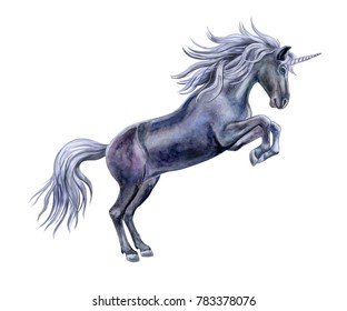 The black horse is a unicorn isolated on white background. Watercolor, illustration. Template. Handmade
