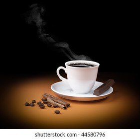 Black hot coffee cup with steam in light spot