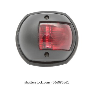 Black housing boat red larboard navigation light isolated on white
