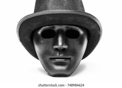 Black human mask in hat isolated on white background