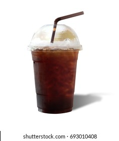 Black ice coffee or Americano coffee isolate on white background.