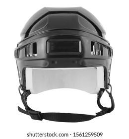 Black ice hocket helmet isolated on white background