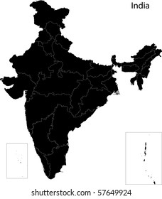 Black India map separated on states