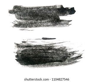 Black ink background painted by brush on white paper