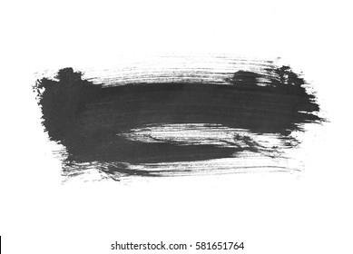 Black ink brush stroke. Isolated on white background
