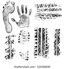 Black ink foot, hand, shoe sole, car and bike tire tread prints. Isolated objects at white background.