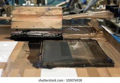 black ink on  hand printing machine