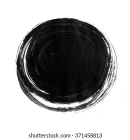 Black ink round background painted by brush. Illustration
