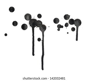 Black ink spot stain composition with leaks over the white background