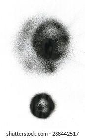 Black ink spray stains