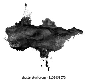 Black ink stains on white background