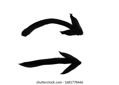 black ink straight and curved arrow sign texture