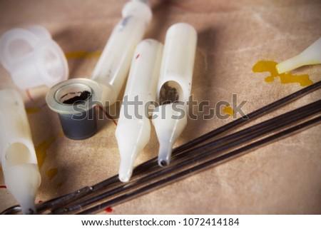 Black Ink Tattoo Needles Tips Top Stock Photo (Edit Now) 1072414184 ...