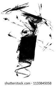 Black ink unraveling fragment shape abstract illustration, vertical, over white