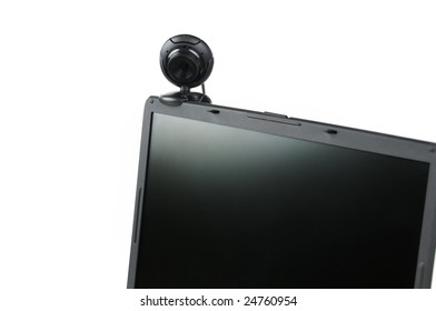black internet camera and laptop