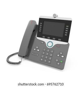Black IP phone on a white. 3D illustration