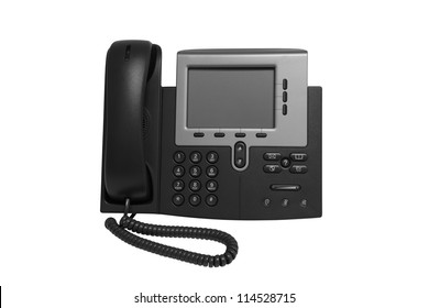 Black IP telephone with monitor representative of IP phone technology.