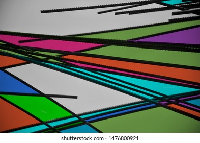 Black iron bars with colourful background photo