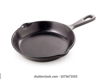 Black iron pan isolated on a white background.