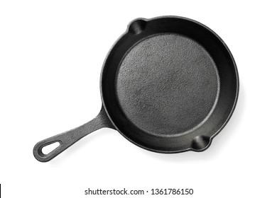 Black iron pan isolated on white background.