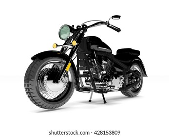 Black isolated classic motorcycle.