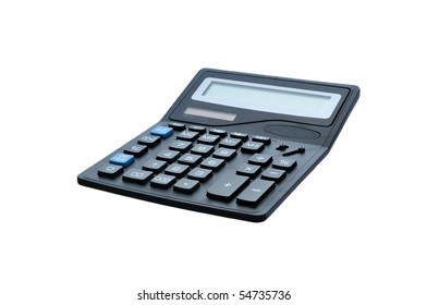black isolated electronic calculator with black end blue buttons