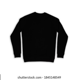 Black isolated sweatshirt over white background for logo and designs. Flat lay black isolated long sleeve  with space for logo close up.