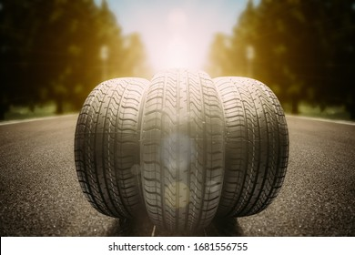 black isolation rubber tire, on the road backgrounds