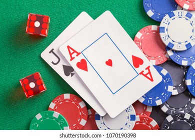 Black Jack Cards with Dice and Casino Chips.