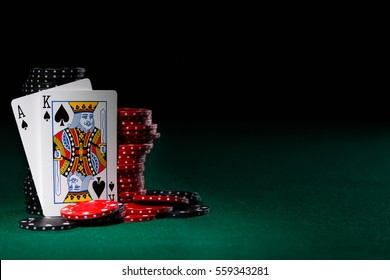 Black Jack with suited spades.  Room in frame for text.