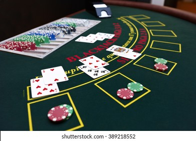 Black Jack table with cards and tokens