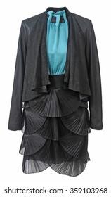 black jacket and skirt isolated on white background