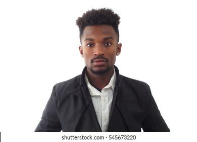 black jacket young man around twenty studio shot white background