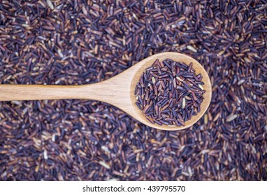 Black jasmine rice Thailand (Rice Berry) in wooden spoon over Rice berry rice, (focus rice in wooden spoon)