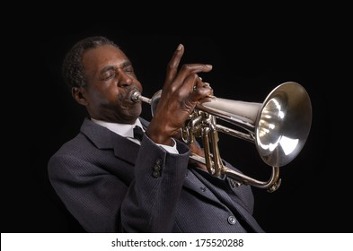 Black Jazz Flugelhorn Player, Studio Shot
