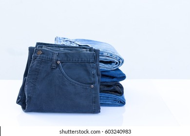 Black jeans texture background with pocket and black label