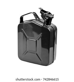 Black jerrycan on white background. Canister for gasoline, diesel gas