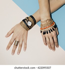 Black Jewelry fashion. Bracelets, Watches and Rings. Be stylish Lady.