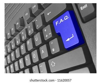 black keyboard with blue key F.A.Q.