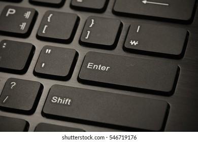 Black keyboard computer to enter key