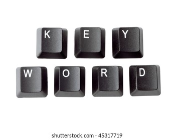 Black keyboard keys forming KEYWORD word over white background