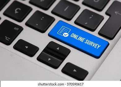 Black keyboard with ONLINE SURVEY button