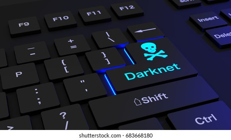 Black keyboard where the enter key is glowing blue showing the word darknet and a skull  cybersecurity concept 3D illustration
