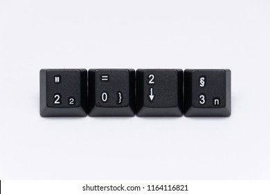 black keys of keyboard with different years words or names