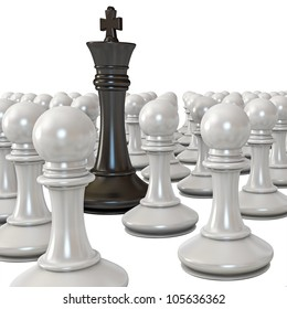 Black king is surrounded by white pawns. White background. 3d render