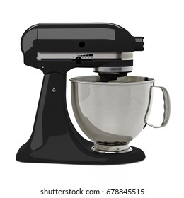 Black kitchen or stand mixer with clipping path isolated on white background
