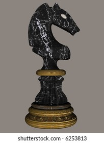 A black knight chess piece.