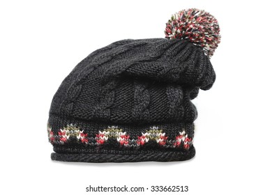 black knitted cap isolated on white ef64fb7213ee