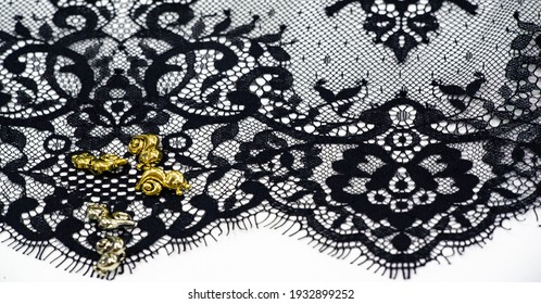 Black lace fabric. Gorgeous black stretch floral lace. DIY crafts. Designer accessories. Decorations for your projects. Elastic finish. Texture background pattern